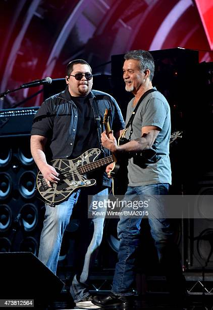 Musicians Wolfgang Van Halen and Eddie Van Halen of Van Halen perform onstage at the 2015 Billboard Music Awards at MGM Grand Garden Arena on May 17,...