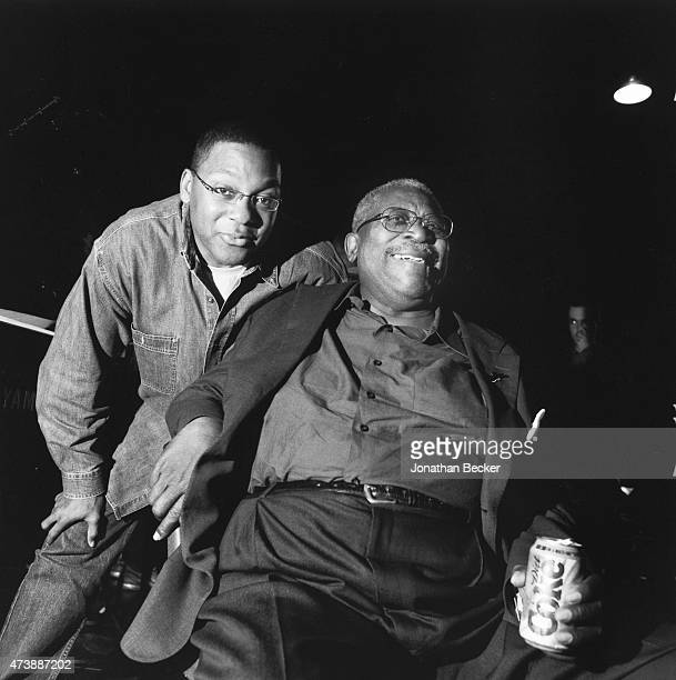 Musicians Wynton Marsalis and BB King are photographed for Vanity Fair Magazine on June 2 2003 in the back alley of the Apollo Theater in Harlem New...