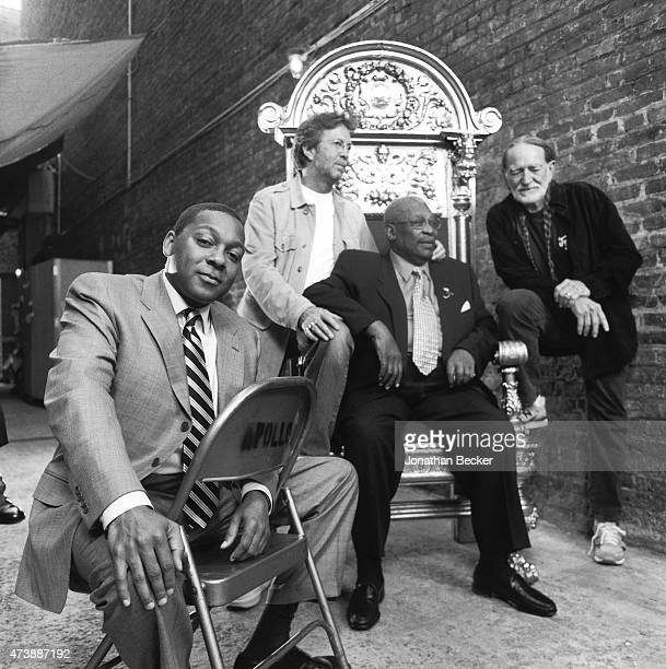Musicians Wynton Marsalis, Eric Clapton, B.B. King and Willie Nelson are photographed for Vanity Fair Magazine on June 2, 2003 in the back alley of...