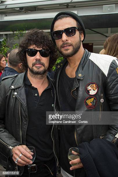 Musicians Yarol Poupaud and Maxime Nucci attend the French Tennis Open Day Fifteen with the Final between Novak Djokovic and Andy Murray at Roland...