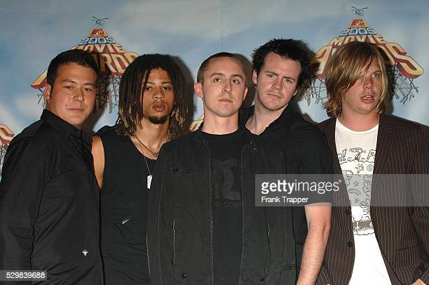 Musicians Yellowcard who are to perform 'Don't You Forget About Me' from'The Breakfast Club' arrive at the 2005 MTV Movie Awards held at the Shrine...