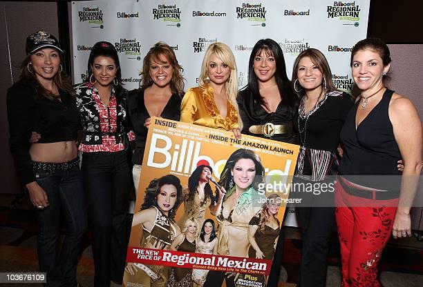 Musicians Yolanda Perez Graciela Beltran Jenni Rivera Marisol Terrazas Virginia Terrazas Diana Reyes and moderator Leila Cobo attend the Billboard...