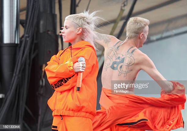 Musicians Yolandi Visser and Ninja of the group Die Antwoord perform at the Twin Peaks Stage during day 1 of the 2012 Outside Lands Music and Arts...