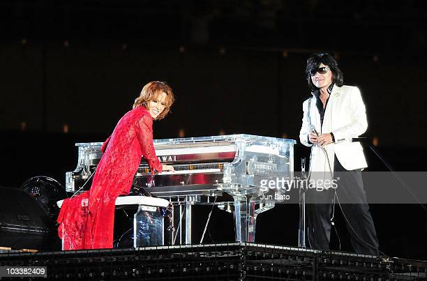 Musicians Yoshiki and Toshi of X Japan performs live at Nissan Stadium on August 14 2010 in Yokohama Japan