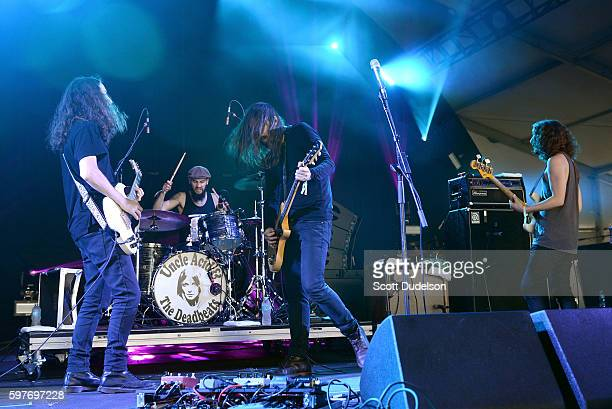 Musicians Yotam Rubinger Itamar Rubinger Kevin Starrs and Vaughn Stokes of the Uncle Acid and the Deadbeats perform onstage during the FYF Festival...