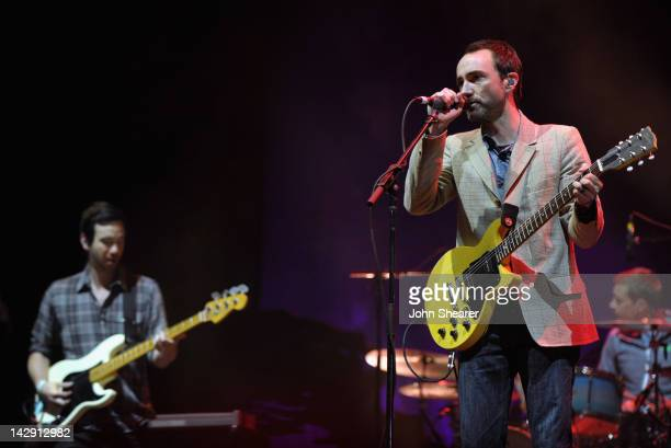 Musicians Yuuki Matthews and James Mercer of The Shins perform during Day 2 of the 2012 Coachella Valley Music Arts Festival held at the Empire Polo...