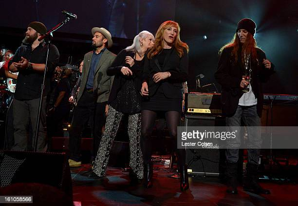 Musicians Zac Brown Ben Harper Emmylou Harris Patti Scialfa and Patti Smith perform onstage at MusiCares Person Of The Year Honoring Bruce...