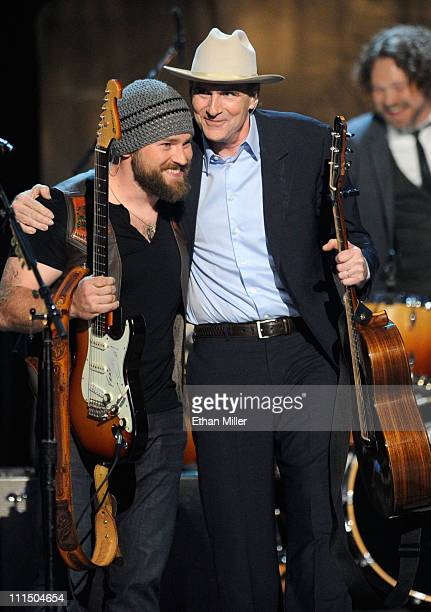 Musicians Zac Brown of the Zac Brown Band and James Taylor perform onstage at the 46th Annual Academy of Country Music Awards held at the MGM Grand...