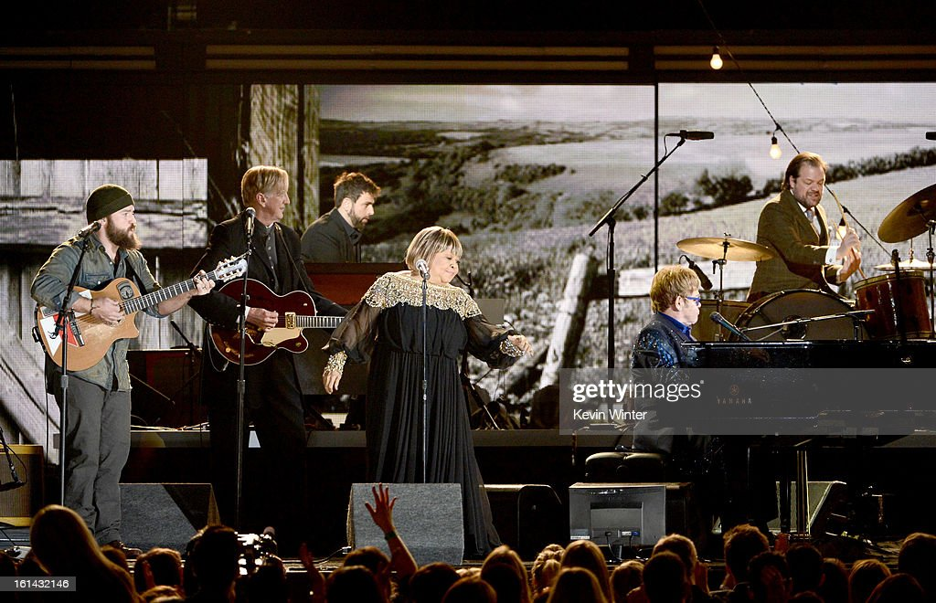 Musicians Zac Brown, T-Bone Burnett, Mavis Staples and Elton John perform onstage during the 55th Annual GRAMMY Awards at STAPLES Center on February 10, 2013 in Los Angeles, California.