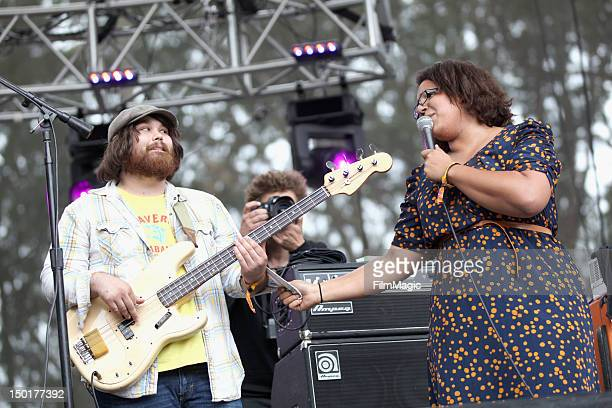 Musicians Zac Cockrell and Brittany Howard of Alabama Shakes perform at the Sutro Stage during day 2 of the 2012 Outside Lands Music and Arts...