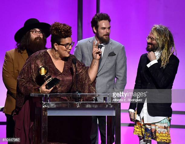 Musicians Zac Cockrell Brittany Howard Steve Johnson of Alabama Shakes and producer Shawn Everett winners of Best Alternative Music Album for 'Sound...