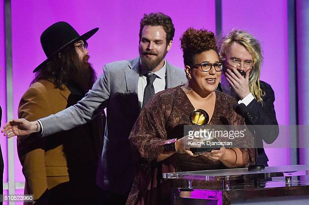 Musicians Zac Cockrell Steve Johnson and Brittany Howard of the Alabama Shakes and music producer and engineer Shawn Everett accept the Grammy Award...