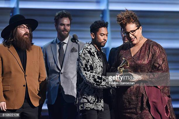 Musicians Zac Cockrell Steve Johnson Heath Fogg and Brittany Howard of Alabama Shakes accept the award for Best Rock Performance for 'Don't Wanna...