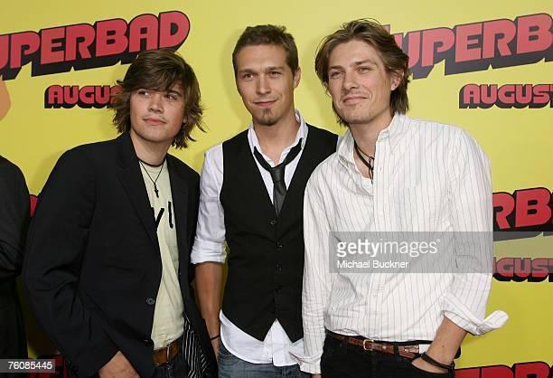 Musicians Zac Hanson Isaac Hanson and Taylor Hanson from the group Hanson arrive at the premiere of Sony Pictures' Superbad held at the Grauman's...