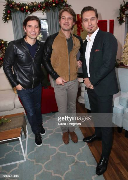 Musicians Zac Hanson Taylor Hanson and Isaac Hanson of Hanson visit Hallmark's 'Home Family' at Universal Studios Hollywood on December 5 2017 in...