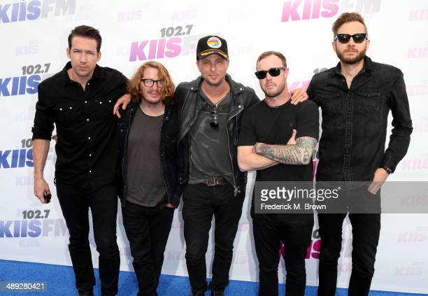 Musicians Zach Filkins Drew Brown Ryan Tedder Eddie Fisher and Brent Kutzle of OneRepublic attend 1027 KIIS FM's 2014 Wango Tango at StubHub Center...