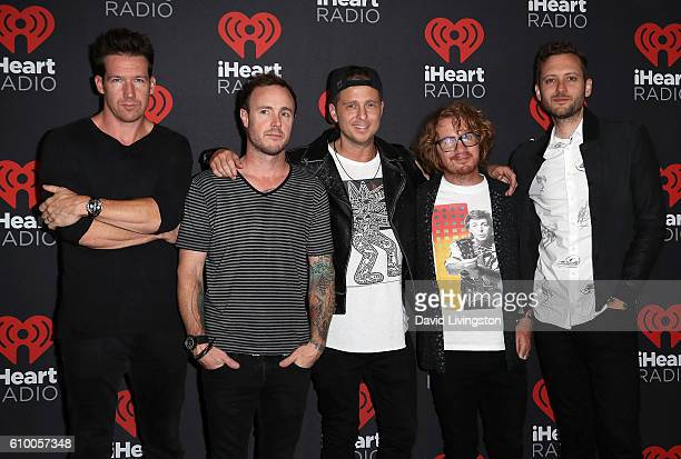 Musicians Zach Filkins Eddie Fisher Ryan Tedder Drew Brown and Brent Kutzle of OneRepublic attend the 2016 iHeartRadio Music Festival Night 1 at...