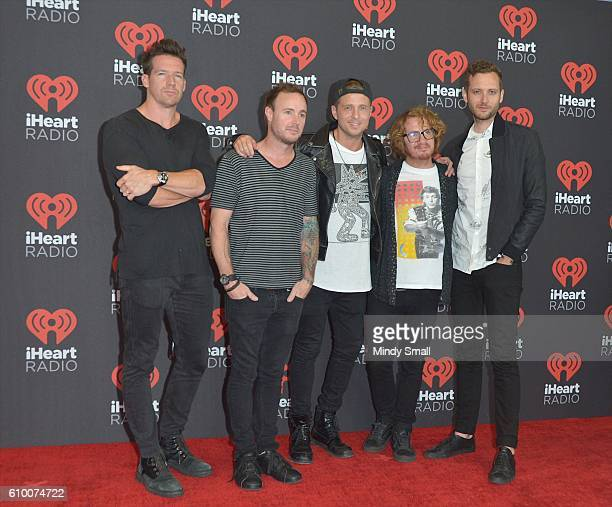 Musicians Zach Filkins Eddie Fisher Ryan Tedder Drew Brown and Brent Kutzie of OneRepublic attend the 2016 iHeartRadio Music Festival at TMobile...