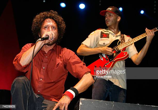 Musicians Zack De La Rocha and Tom Morello from the band Rage Against the Machine perform during day 3 of the Coachella Music Festival held at the...