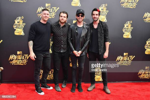 Musicians Zack Merrick Rian Dawson Alex Gaskarth and Jack Barakat of All Time Low attend the 2017 MTV Movie and TV Awards at The Shrine Auditorium on...