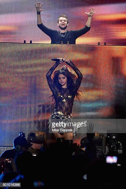 Musicians Zedd and Selena Gomez perform onstage during Z100's Jingle Ball 2015 at Madison Square Garden on December 11 2015 in New York City