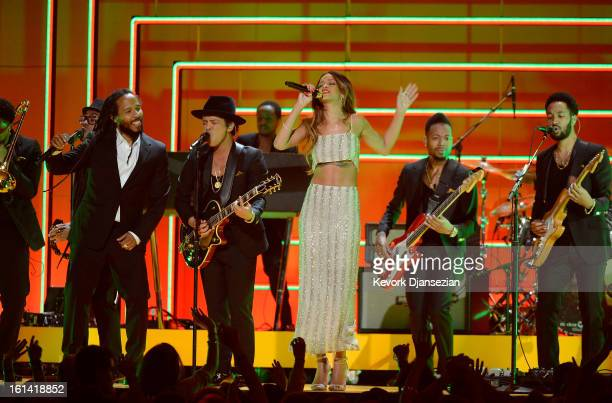 Musicians Ziggy Marley Bruno Mars and Rihanna perform onstage at the 55th Annual GRAMMY Awards at Staples Center on February 10 2013 in Los Angeles...