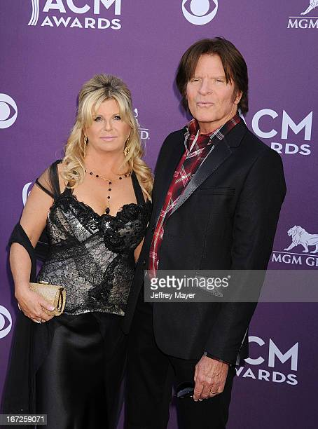Musician/singer John Fogerty and wife Julie Lebiedzinsk arrive at the 48th Annual Academy of Country Music Awards at the MGM Grand Garden Arena on...