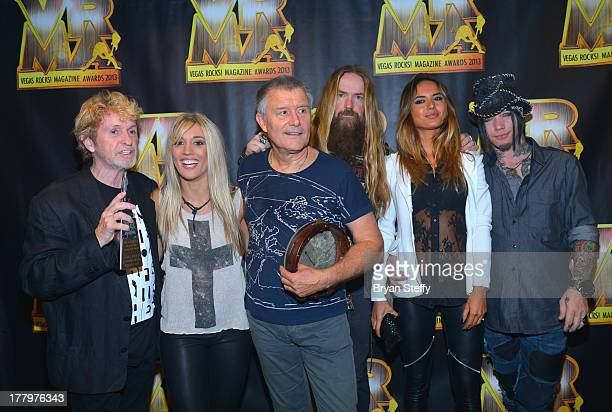 Musician/songwriter Jon Anderson guitarist Laura Wilde drummer Carl Palmer guitarist Zakk Wylde model Nathalia Henao and guitarist Dj Ashba appear...