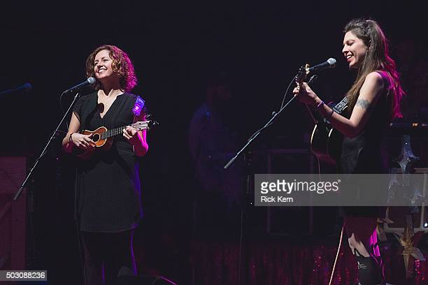 Musicians/singers Cathy Guthrie and Amy Nelson of Folk Uke performs in concert at ACL Live on December 31 2015 in Austin Texas