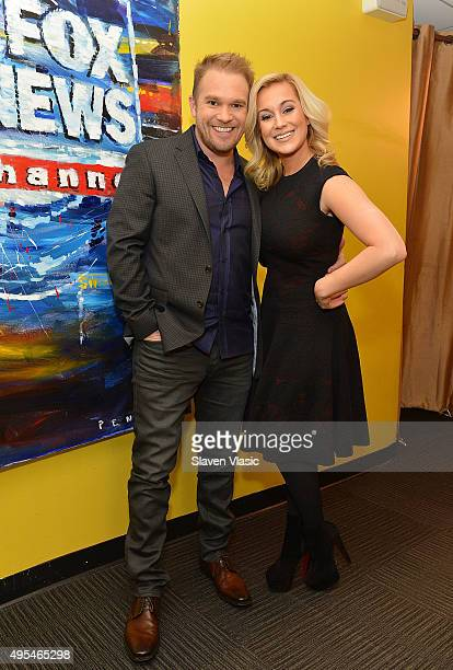 Musician/TV personality Kellie Pickler and husband songwriter Kyle Jacobs visit 'FOX Friends' at FOX Studios on November 3 2015 in New York City
