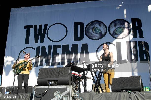 Musician/vocalist Alex Trimble and musician Kevin Baird of Two Door Cinema Club perform in concert during the Austin City Limits Music Festival at...