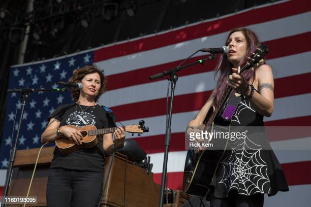 Musician/vocalist Cathy Guthrie and Amy Nelson of Folk Uke perform onstage during the 46th Annual Willie Nelson 4th of July Picnic at Austin360...