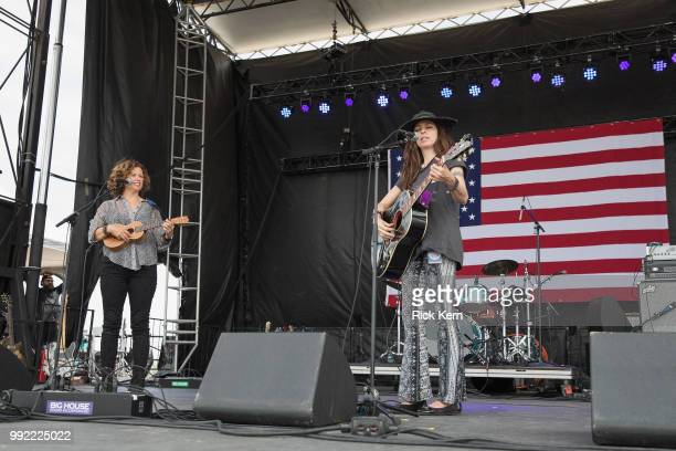 Musician/vocalist Cathy Guthrie and Amy Nelson of Folk Uke perform onstage during the 45th Annual Willie Nelson 4th of July Picnic at Austin360...