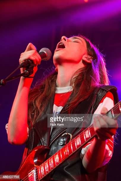 Musician/vocalist Danielle Haim of Haim performs in concert at Stubb's BarBQ on April 23 2014 in Austin Texas