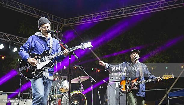 Musician/vocalist John Baldwin Gourley and Zachary Carothers of Portugal The Man perform onstage during the Maverick Music Festival at Maverick Plaza...