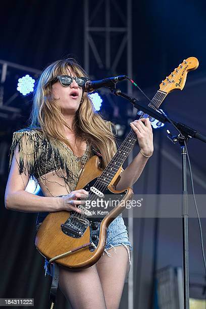 Musician/vocalist Lindsey Troy of Deap Valley performs on stage during weekend two, day two of the Austin City Limits Music Festival at Zilker Park...