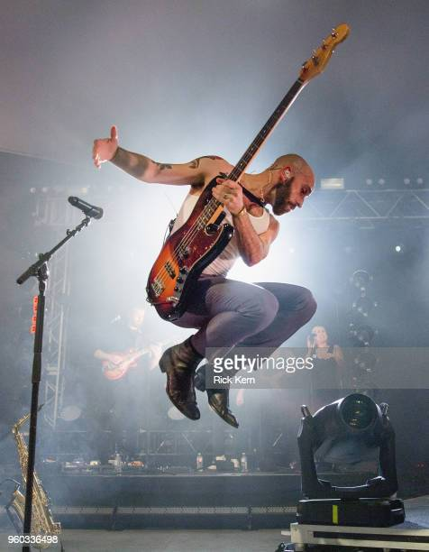 Musician/vocalist Sam Harris of X Ambassadors performs in concert at Stubb's BarBQ on May 19 2018 in Austin Texas