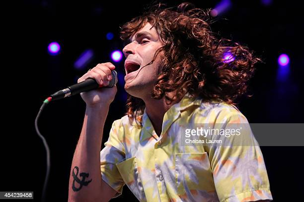 Musician/vocalist Sam Martin of Youngblood Hawke performs at The Greek Theatre on August 26 2014 in Los Angeles California