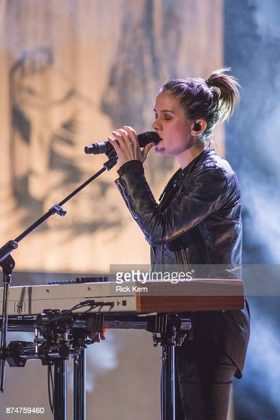 Musician/vocalist Sara Quin of Tegan and Sara performs in concert during 'The Con X Tour' at Paramount Theatre on November 15 2017 in Austin Texas