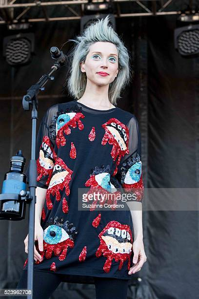Musician/vocalist St Vincent performs on stage during weekend one day one of the Austin City Limits Music Festival at Zilker Park on October 3 2014...
