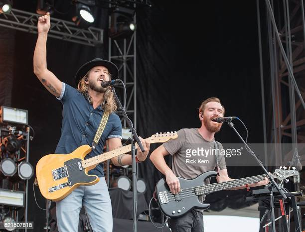Musician/vocalist Trevor Terndrup and Tommy Putnam of Moon Taxi perform onstage during Float Fest at Cool River Ranch on July 23 2017 in Martindale...
