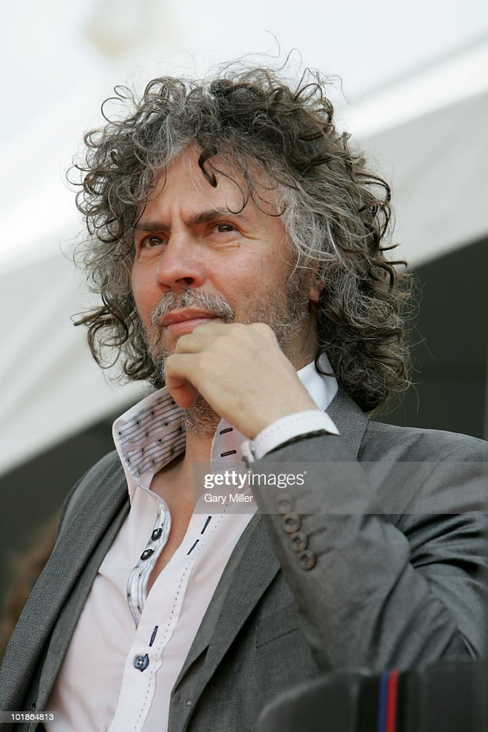 Musician/vocalist Wayne Coyne watches Uh Huh Her perform during the Free Press Summerfest at Eleanor Tinsley Park on June 6, 2010 in Houston, Texas.