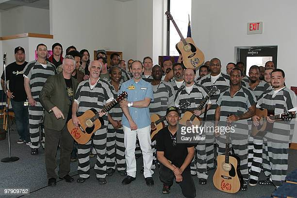 Musician/vocalists Billy Bragg Wayne Kramer and Tom Morello pose with the inmates during the South By Southwest Music Festival at the Travis County...