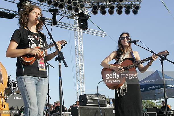 Musician/vocalists Cathy Guthrie and Amy Nelson of the band Folk Uke perform to a sold out crowd during Willie Nelson's 4th of July Picnic at The...