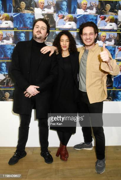 Musicien Vladimir Seguin actress Camille Constantin and Rap artist Nelson Delapalme from Deform Scan attend «Deform Scan» Premiere Exhibition...