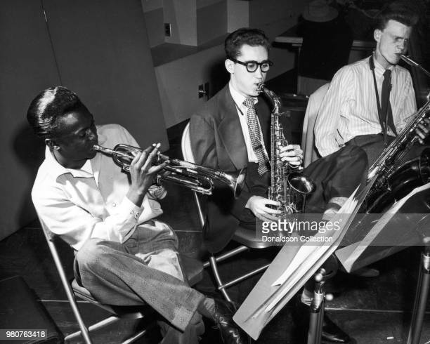 Musiicans Miles Davis Lee Konitz and Gerry Mulligan at the Birth of the Cool recording sessions on January 21 1949 in New York