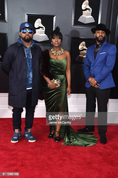 Musiq Soulchild and Meelah attend the 60th Annual GRAMMY Awards at Madison Square Garden on January 28 2018 in New York City