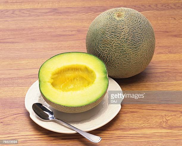 musk melon, high angle view - muskmelon stock pictures, royalty-free photos & images