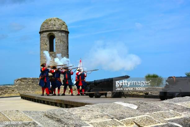 musket practice - castillo de san marcos - castillo de san marcos stock photos and pictures