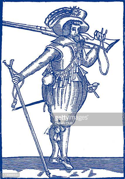 Musketeer from the time of James I taken from a broadside held by the Society of Antiquaries at the turn of the twentieth century